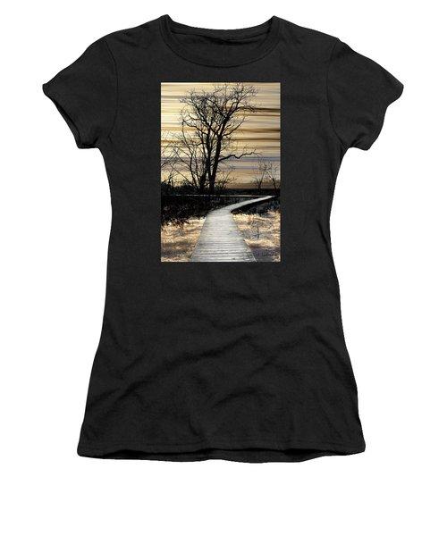 Boardwalk Women's T-Shirt (Junior Cut) by Joan Ladendorf