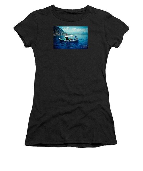 Boat And Sapfir Sea Seascape Artmif Women's T-Shirt