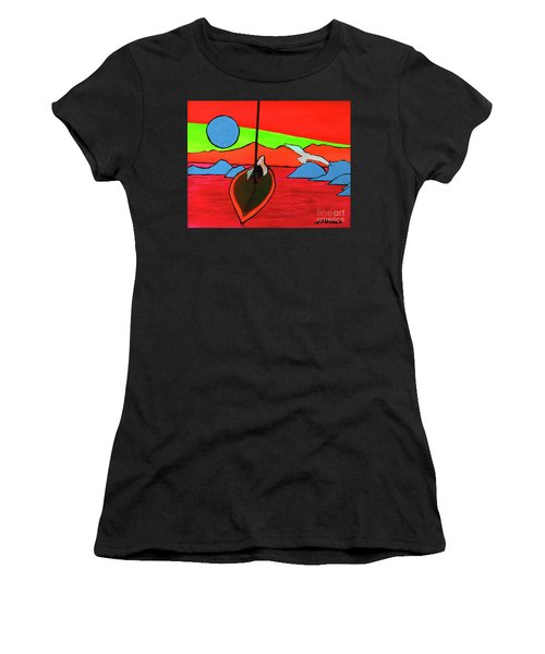 Boat, Bird And Moon Women's T-Shirt (Athletic Fit)