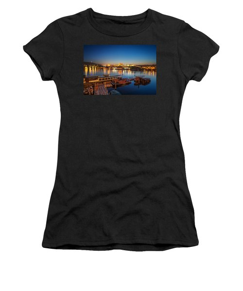Boat Dock Near St. Vitus Cathedral, Prague, Czech Republic. Women's T-Shirt (Athletic Fit)