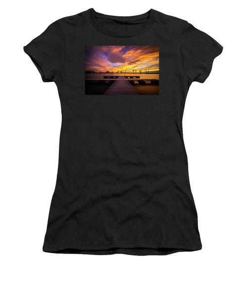 Boat Dock Sunset Women's T-Shirt