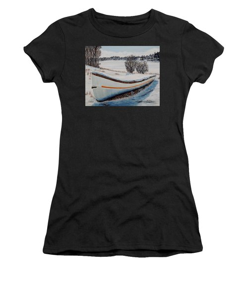 Boat Under Snow Women's T-Shirt