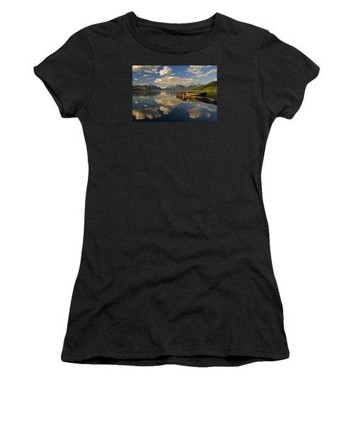 Boats At Lake Mcdonald Women's T-Shirt (Athletic Fit)