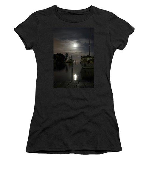 Boats At Moon Rise Women's T-Shirt