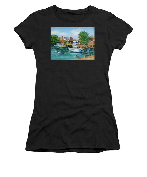Boats Behind Cross Bay Blvd. Women's T-Shirt (Athletic Fit)