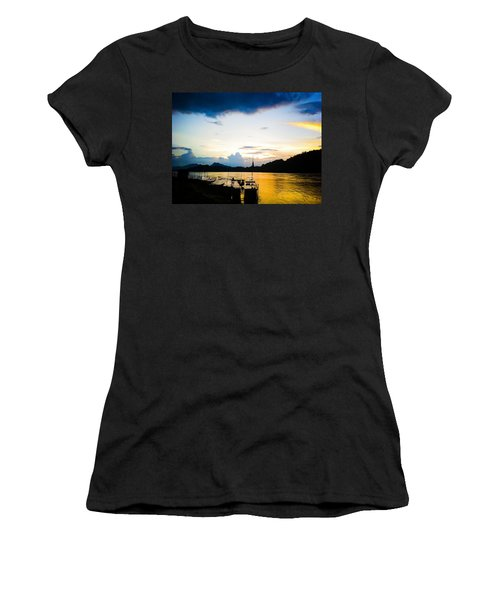 Boats In The Mekong River, Luang Prabang At Sunset Women's T-Shirt