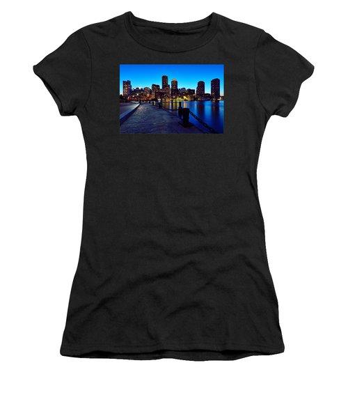Boston Harbor Walk Women's T-Shirt (Junior Cut) by Rick Berk