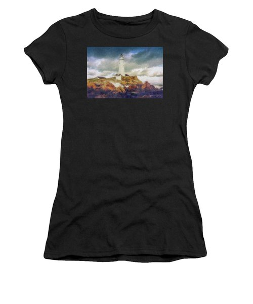Boston Light On A Stormy Day Women's T-Shirt