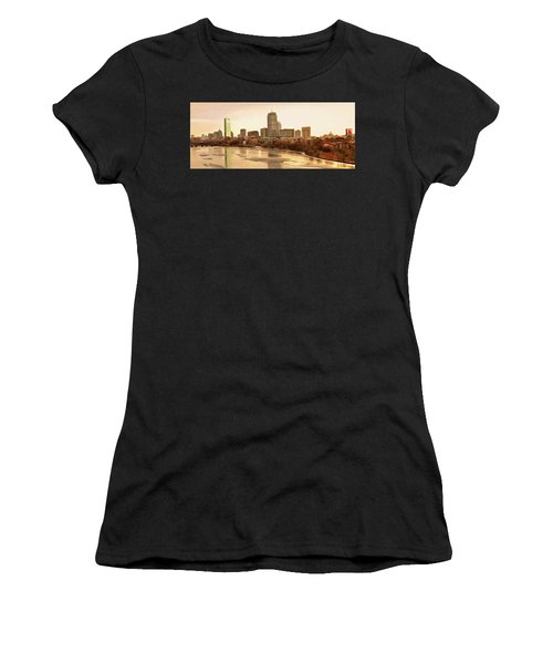 Boston Skyline On A December Morning Women's T-Shirt (Athletic Fit)