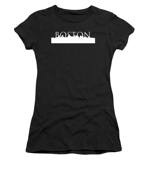 Women's T-Shirt (Junior Cut) featuring the photograph Boston Skyline Outline Logo 2 by Joann Vitali