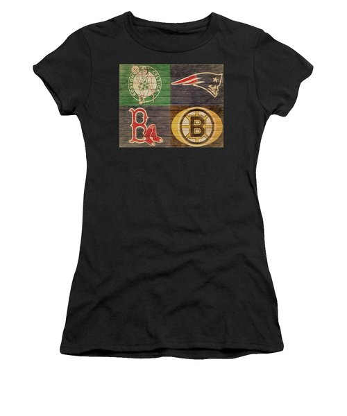 Boston Sports Teams Barn Door Women's T-Shirt (Athletic Fit)