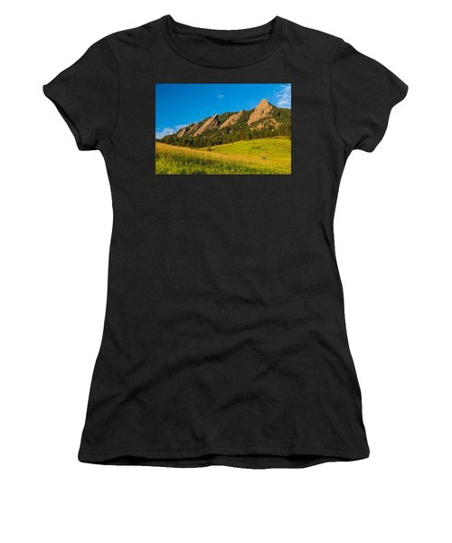 Boulder Colorado Flatirons Sunrise Golden Light Women's T-Shirt