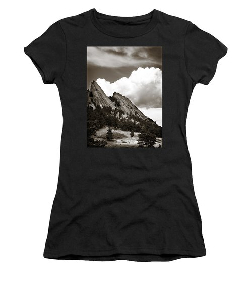 Large Cloud Over Flatirons Women's T-Shirt (Athletic Fit)