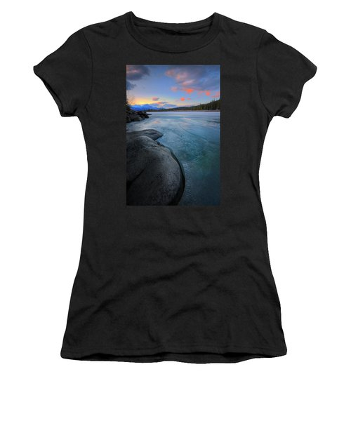 Boulders And Ice On The Athabasca River Women's T-Shirt