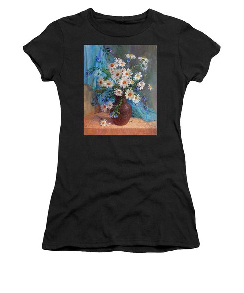 Bouquet Of Daisies In A Vase From Clay Women's T-Shirt (Athletic Fit)
