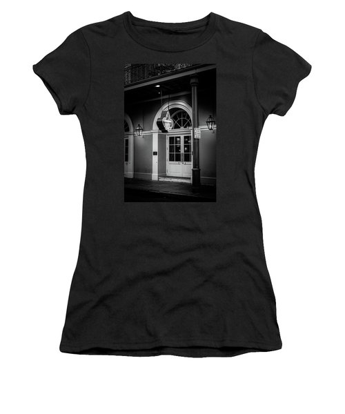 Bourbon O Bar In Black And White Women's T-Shirt (Athletic Fit)