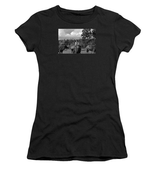 Boy And Cows Women's T-Shirt (Athletic Fit)