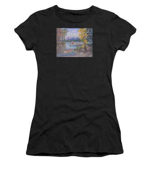 Boy Fishing On Dock And Boat On Lake Women's T-Shirt