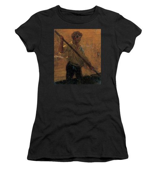 Women's T-Shirt (Junior Cut) featuring the painting Boy In A Punt by Henry Scott Tuke