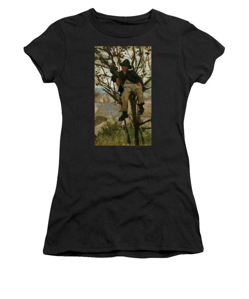 Women's T-Shirt (Junior Cut) featuring the painting Boy In A Tree by Henry Scott Tuke