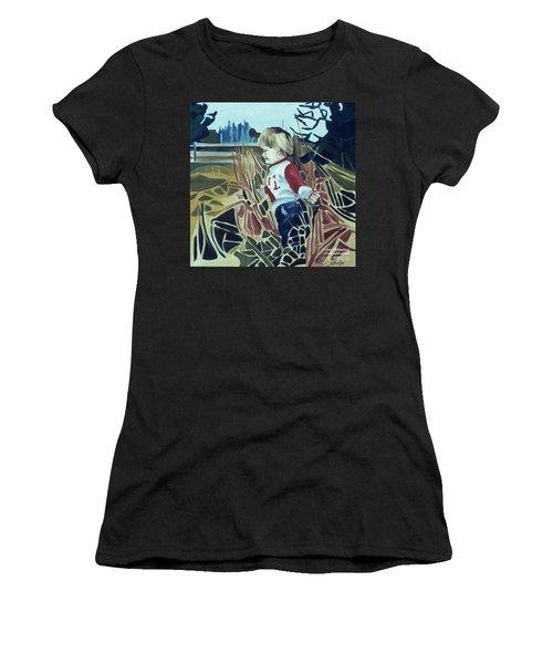 Boy In Grassy Field Women's T-Shirt (Athletic Fit)