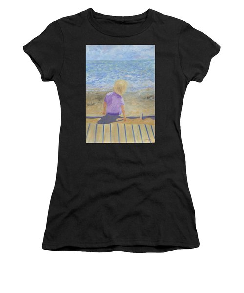 Boy Lost In Thought Women's T-Shirt (Athletic Fit)