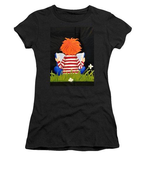 Boy Reading Book Women's T-Shirt (Junior Cut) by Brenda Bonfield