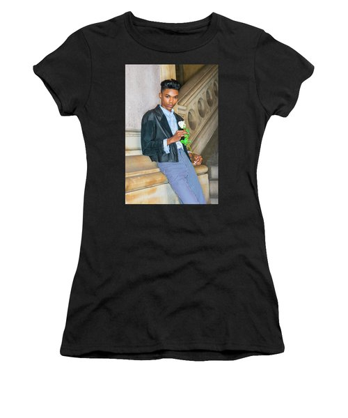Women's T-Shirt (Athletic Fit) featuring the photograph Boy With White Rose 15042623 by Alexander Image