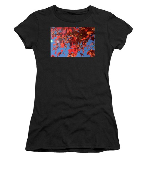 Branches Of Red Maple Leaves On Clear Sky Background Women's T-Shirt