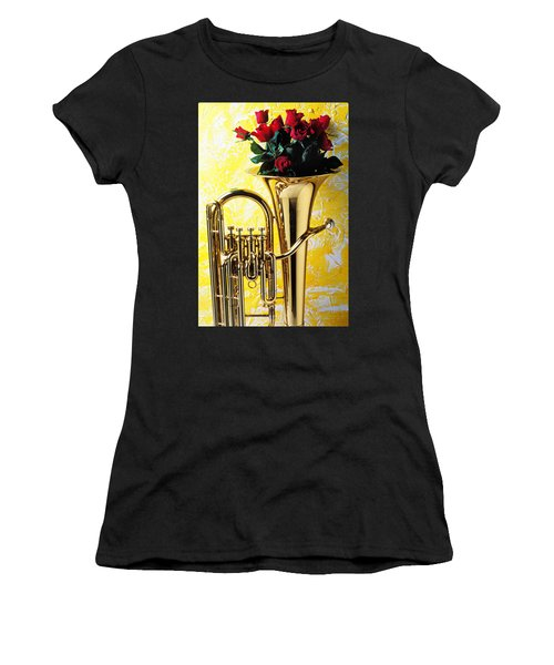 Brass Tuba With Red Roses Women's T-Shirt