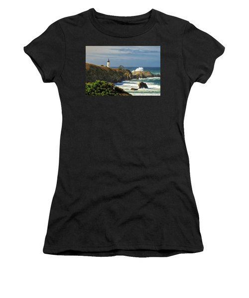 Breaking Waves At Yaquina Head Lighthouse Women's T-Shirt