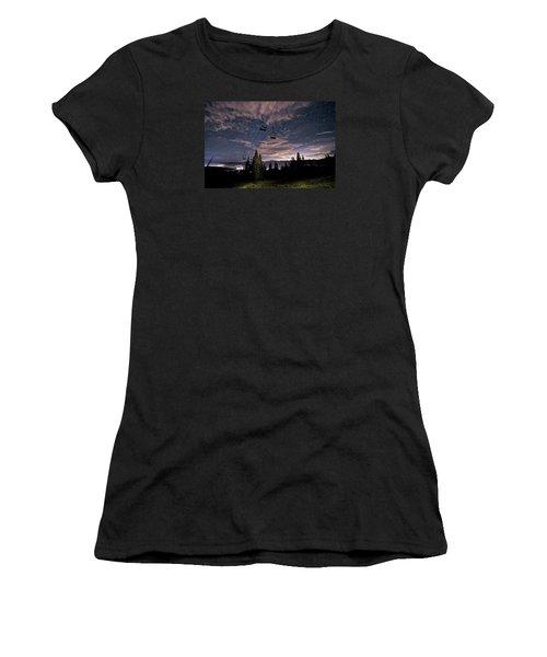 Breckenridge Chairlift Under Stars Women's T-Shirt (Junior Cut) by Michael J Bauer