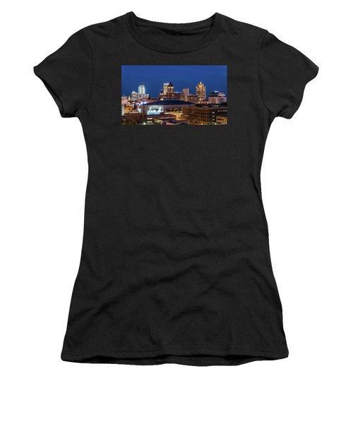 Brew City At Dusk Women's T-Shirt (Junior Cut) by Randy Scherkenbach