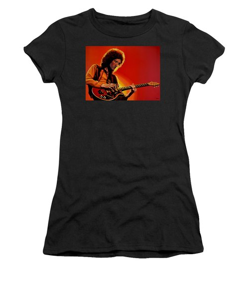Brian May Of Queen Painting Women's T-Shirt (Junior Cut) by Paul Meijering