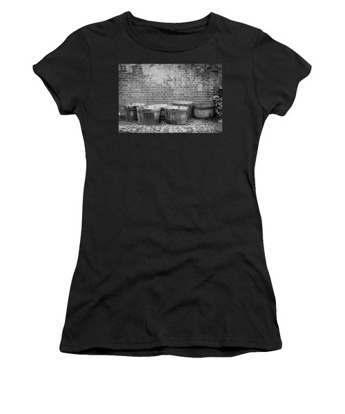 Brick Wall And Barrels B W Women's T-Shirt
