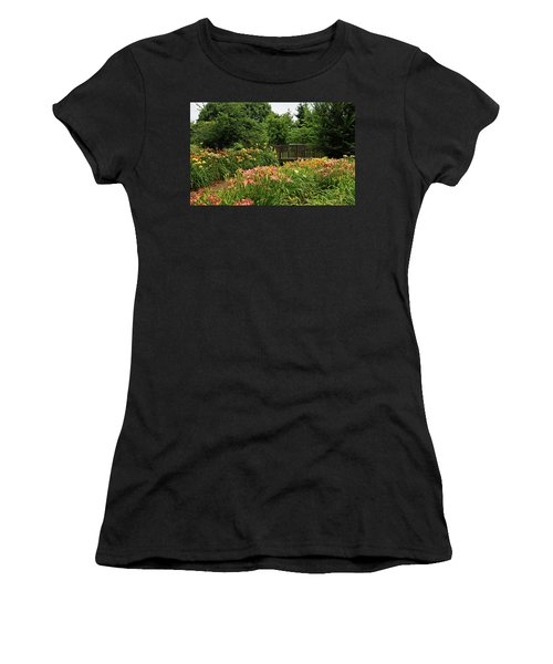 Women's T-Shirt (Junior Cut) featuring the photograph Bridge In Daylily Garden by Sandy Keeton