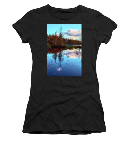 Bright Colors Of Autumn Reflected In The Still Waters Of A Beautiful Forest Lake Women's T-Shirt (Athletic Fit)
