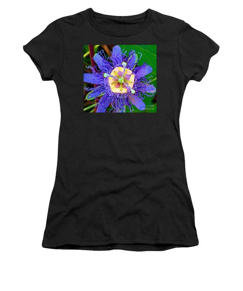 Brilliant Blue Flower Women's T-Shirt (Athletic Fit)