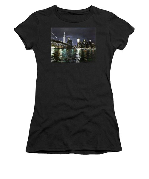 Brooklyn Bridge, East River At Night Women's T-Shirt (Athletic Fit)