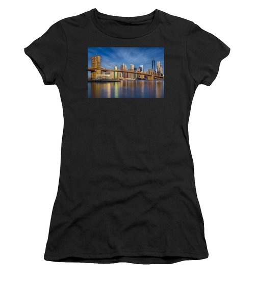 Women's T-Shirt (Athletic Fit) featuring the photograph Brooklyn Bridge From Dumbo by Susan Candelario