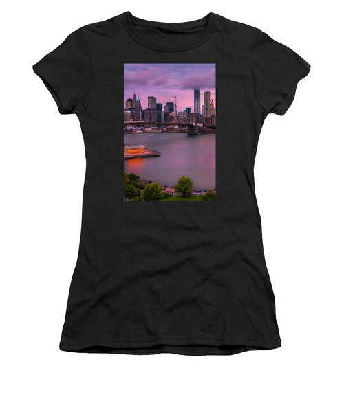 Women's T-Shirt (Junior Cut) featuring the photograph Brooklyn Bridge World Trade Center In New York City by Ranjay Mitra