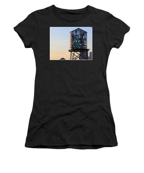 Brooklyn's Glowing Glass Water Tower - Public Art Women's T-Shirt (Athletic Fit)