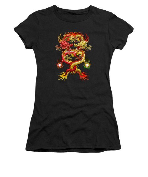 Brotherhood Of The Snake - The Red And The Yellow Dragons On Red And Black Leather Women's T-Shirt (Junior Cut) by Serge Averbukh