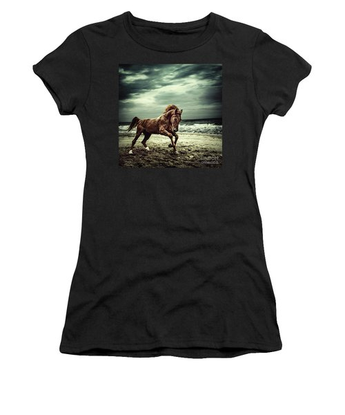 Brown Horse Galloping On The Coastline Women's T-Shirt