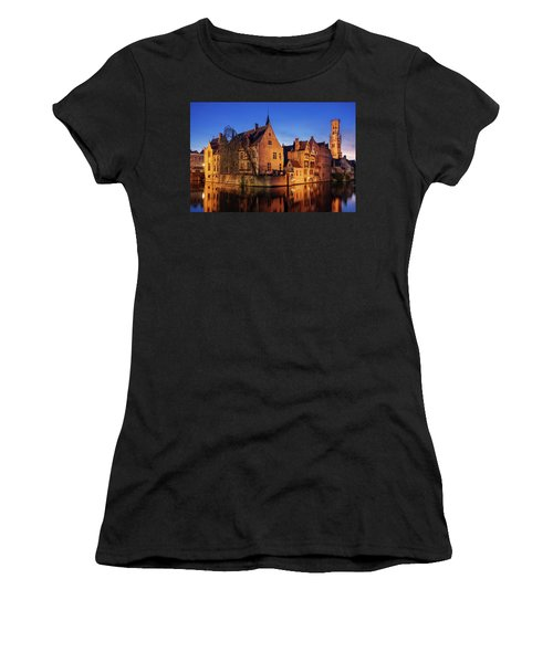 Women's T-Shirt featuring the photograph Bruges Architecture At Blue Hour by Barry O Carroll