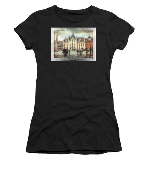 Women's T-Shirt featuring the painting Bruges, Belgium by Chris Armytage