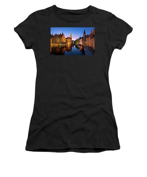 Bruges Canals At Blue Hour Women's T-Shirt (Athletic Fit)