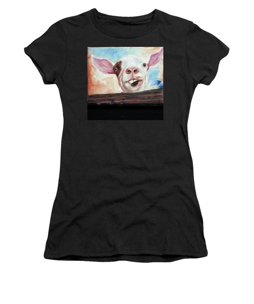 Bucktooth'd Goat Part Of Barnyard Series Women's T-Shirt (Athletic Fit)