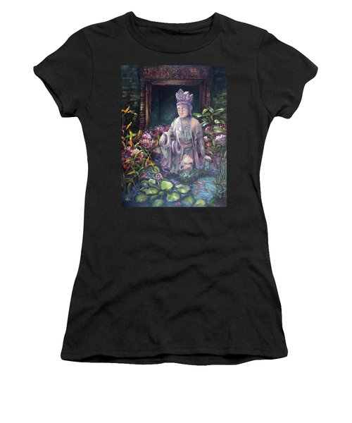 Budda Statue And Pond Women's T-Shirt (Athletic Fit)