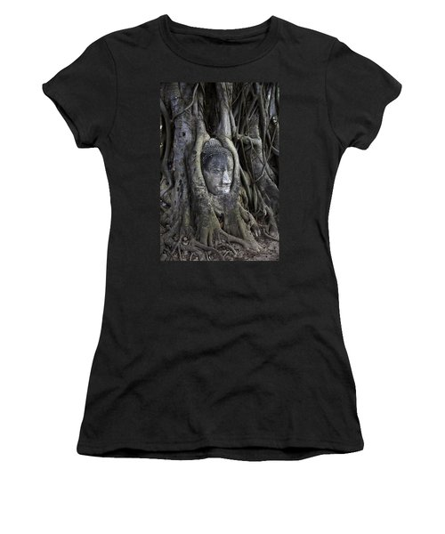 Buddha Head In Tree Women's T-Shirt (Junior Cut) by Adrian Evans